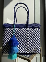 Valerosa Boutique Valerosa Navy and White Dia Purse with Shade of Blue Tassel