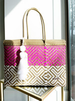 Valerosa Boutique Valerosa Pink and Gold Dia Duffle with White Tassel