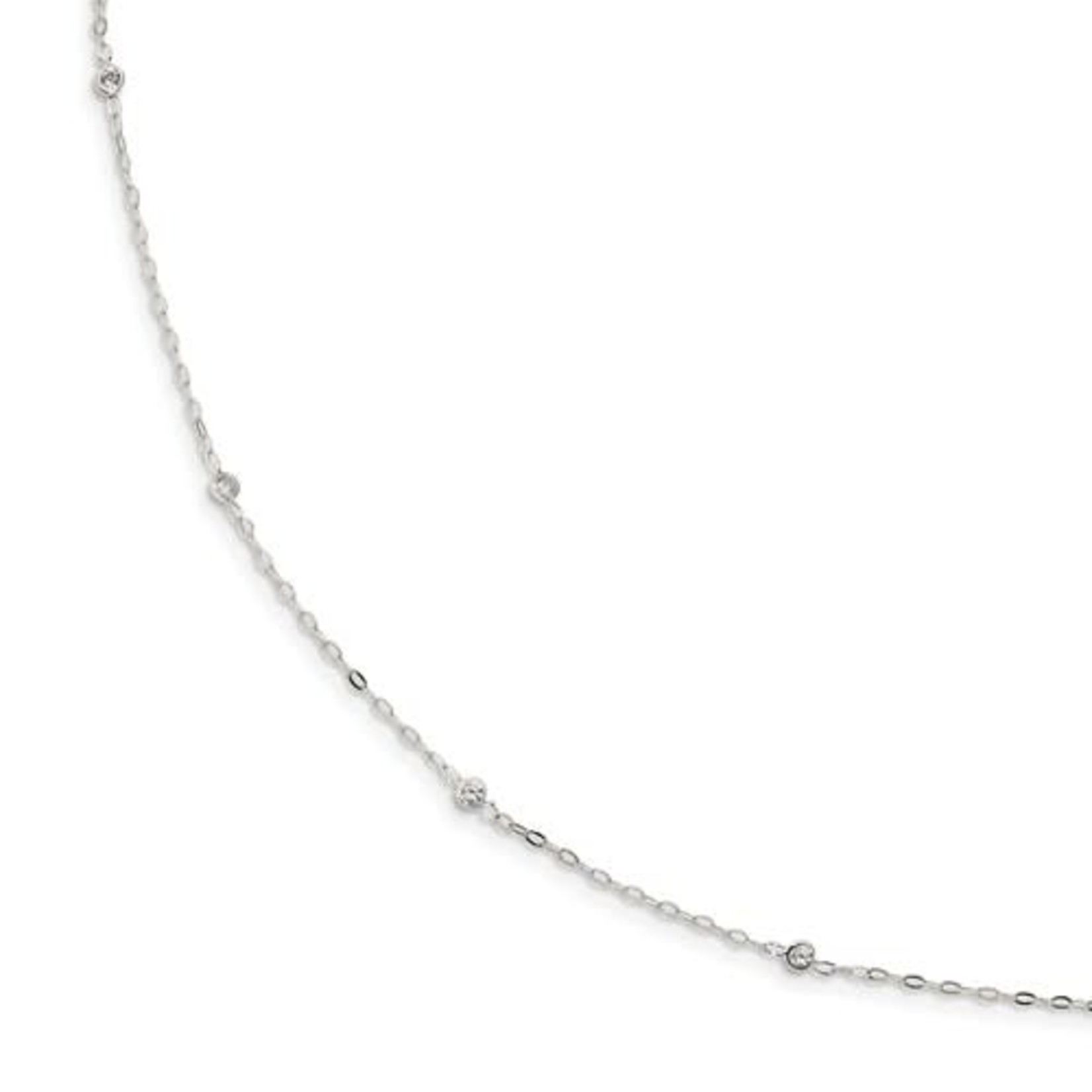 This Is Life Sterling Silver CZ 5 Station Necklace