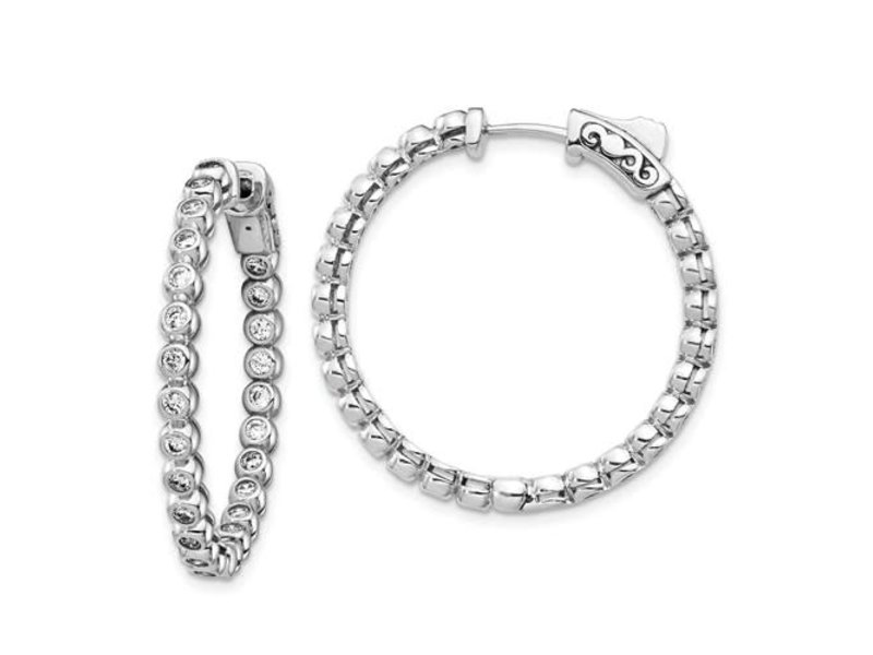 This Is Life Sterling Silver CZ In And Out Round Hoop Earrings