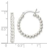 This Is Life Sterling Silver Polished Beaded Hoop Earrings