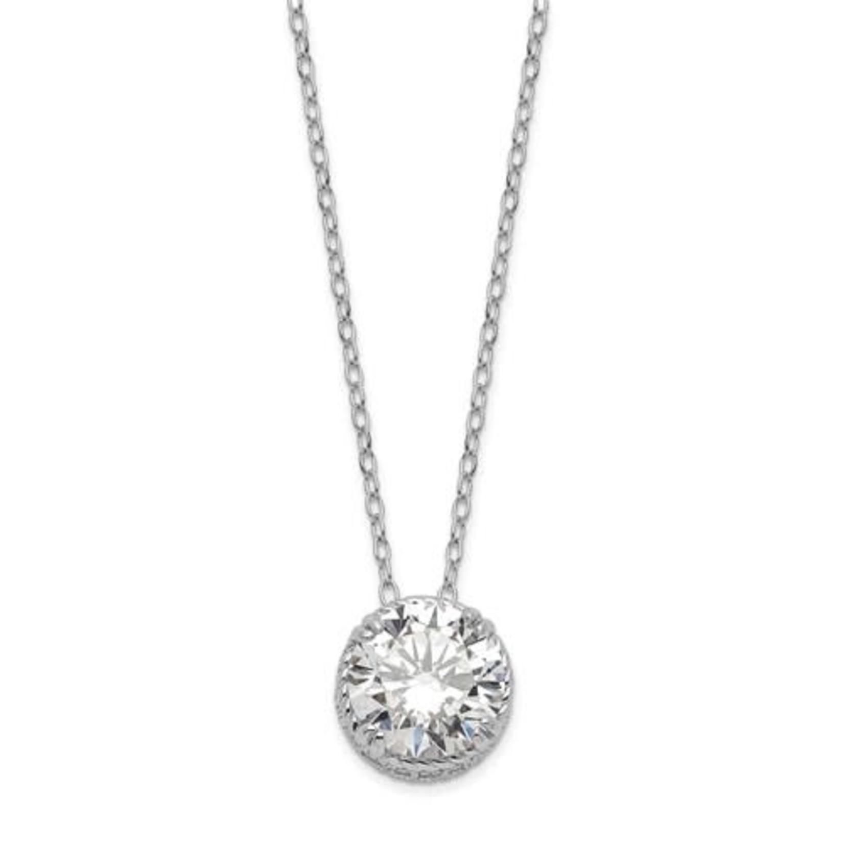 """This Is Life Sterling Silver Diamonique Asscher Pendant On 18"""" Cable Chain"""