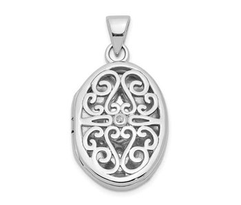 Filigree Oval Locket With Diamond - Sterling Silver