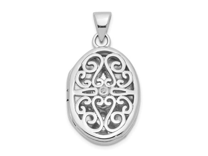 This Is Life Filigree Oval Locket With Diamond - Sterling Silver
