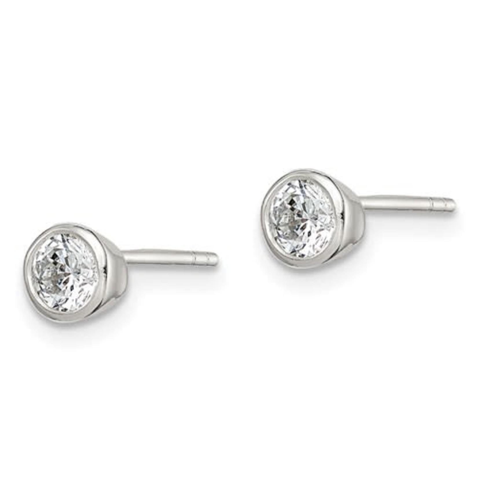 This Is Life CZ Bezel Set Earrings - 4 mm