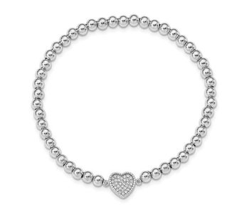 Sterling Silver Rhod-Plated CZ Heart Beaded Stretch Bracelet