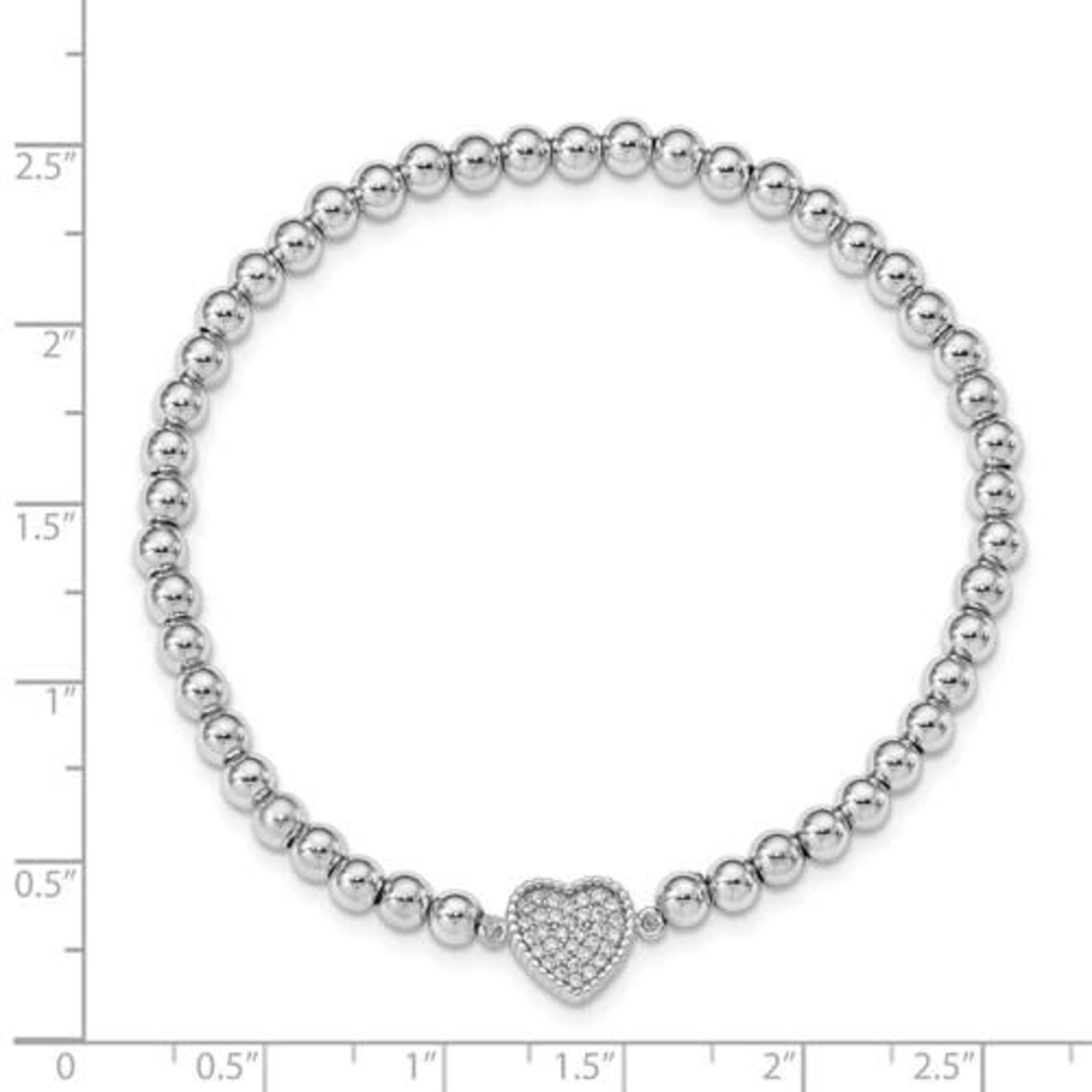 This Is Life Sterling Silver Rhod-Plated CZ Heart Beaded Stretch Bracelet