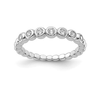 The Eternity Cz Stackable Band - Sterling Silver