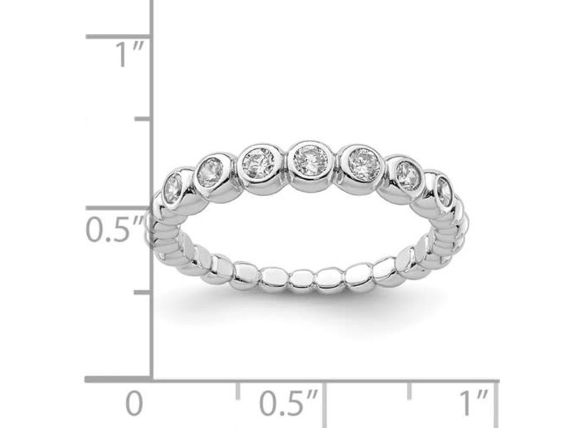 This Is Life The Eternity Cz Stackable Band - Sterling Silver