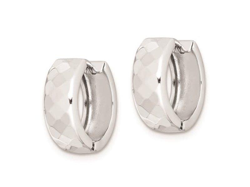 This Is Life Diamond Patterned Hinged 15 mm Hoop Earrings