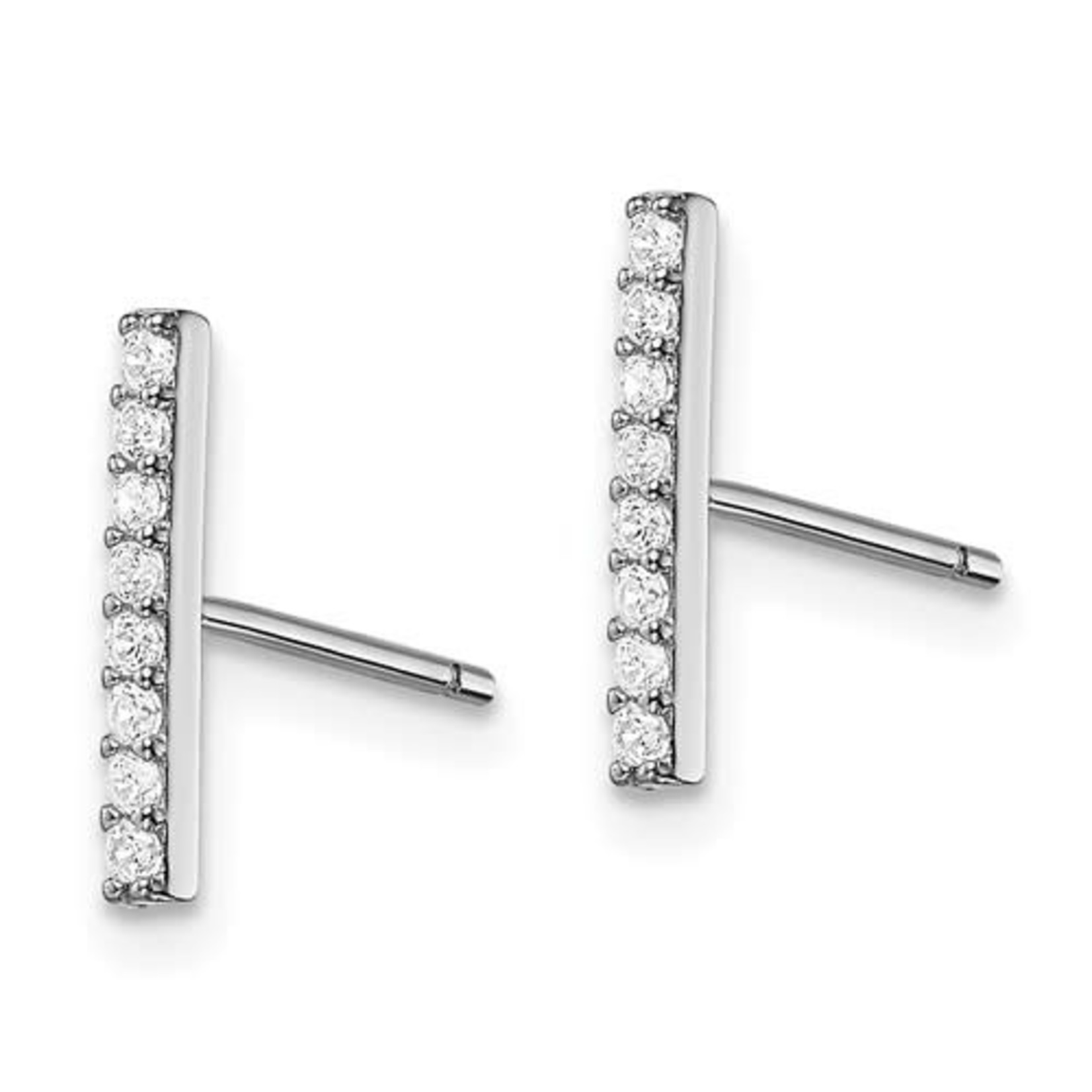 This Is Life CZ Bar Post Earrings - Sterling Sliver