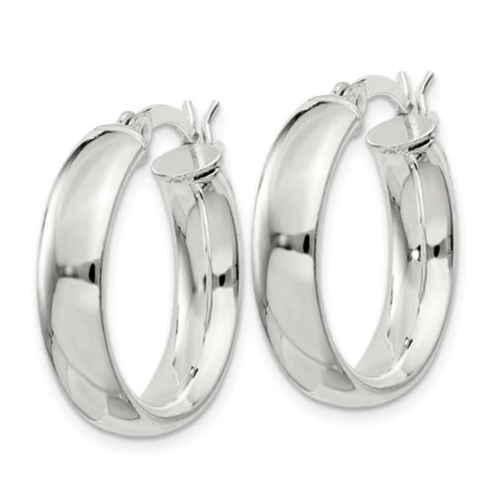 This Is Life Sterling Silver 4.75x20mm Hoop Earrings