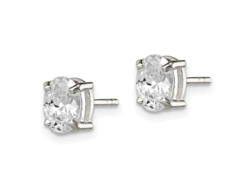 This Is Life Sterling Silver 5x7mm Oval Basket Set CZ Stud Earrings