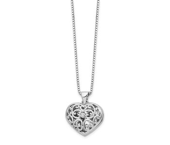 Windows Of My Heart Locket With Diamond - Sterling Silver