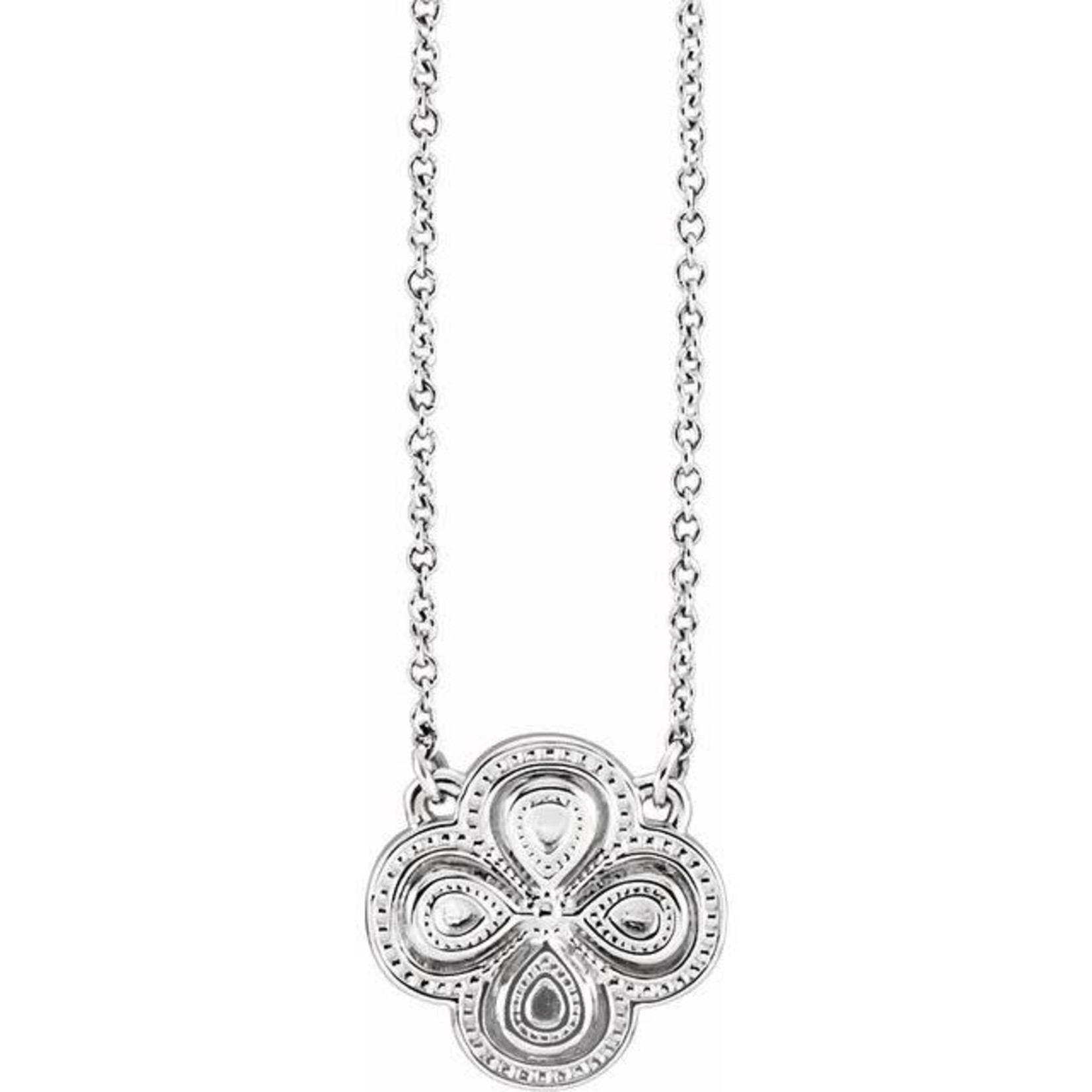 """This Is Life Sterling Silver 18"""" Clover Necklace"""