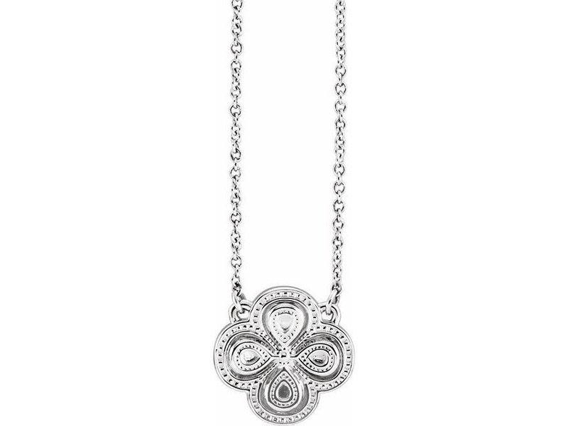 "This Is Life Sterling Silver 18"" Clover Necklace"