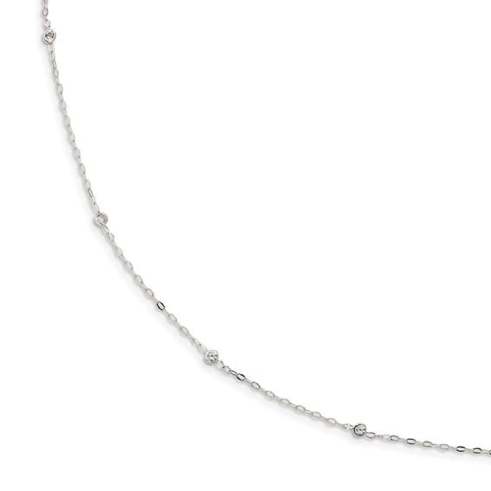"""This Is Life Sterling Silver CZ 5 Station 17"""" Necklace"""