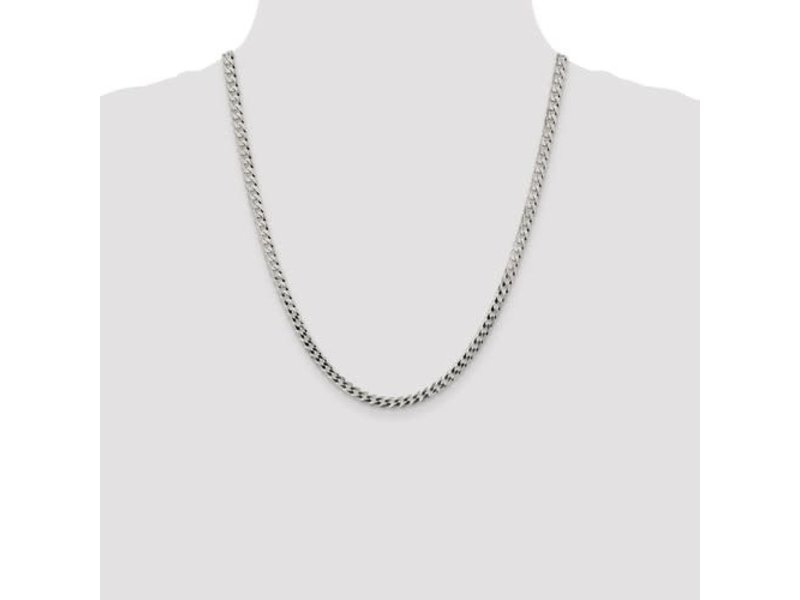 "This Is Life Sterling Silver 4.5mm Close Link Flat Curb 22"" Chain"