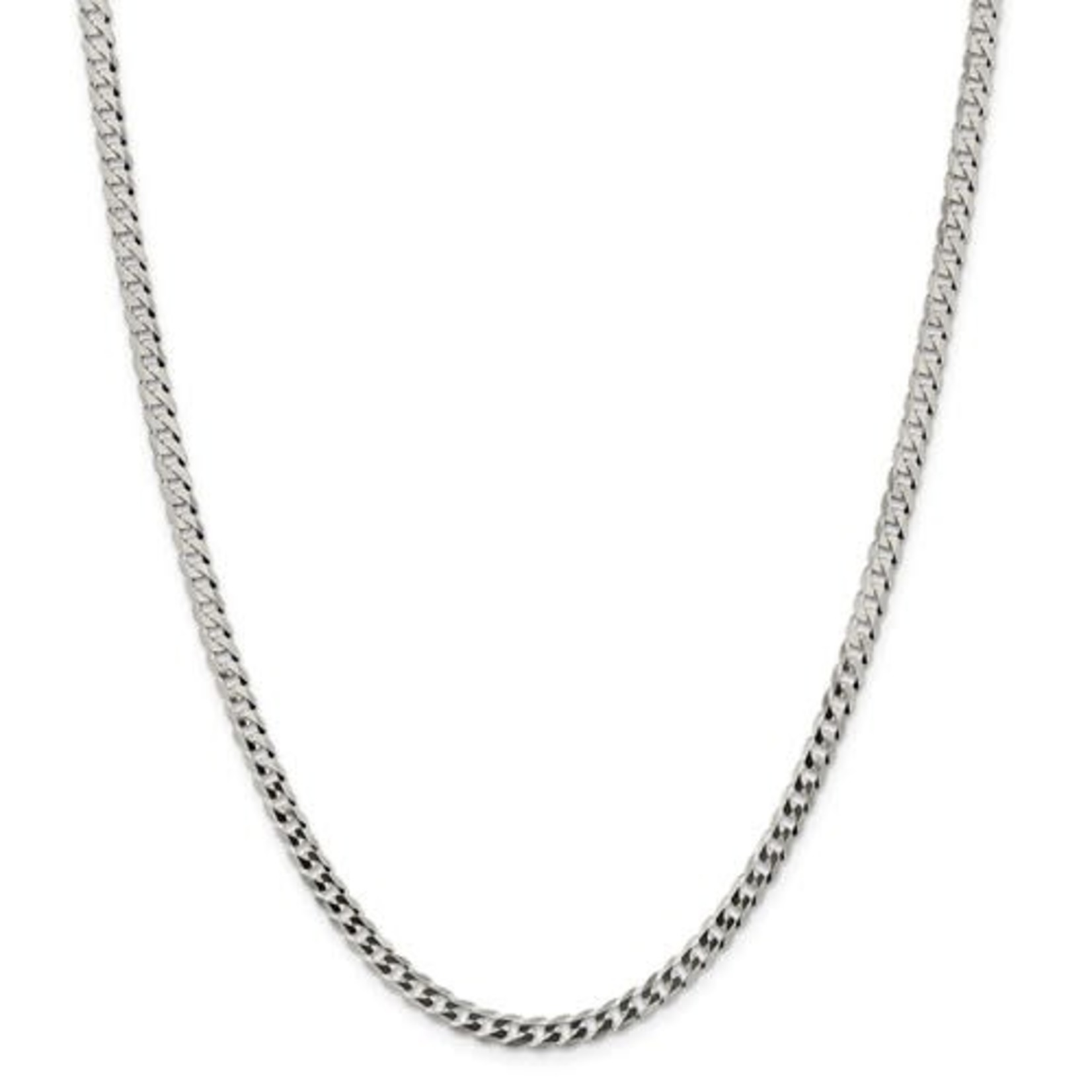 """This Is Life Sterling Silver 4.5mm Close Link Flat Curb 22"""" Chain"""