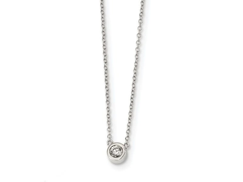 This Is Life Cz Stationary Sterling Silver Necklace