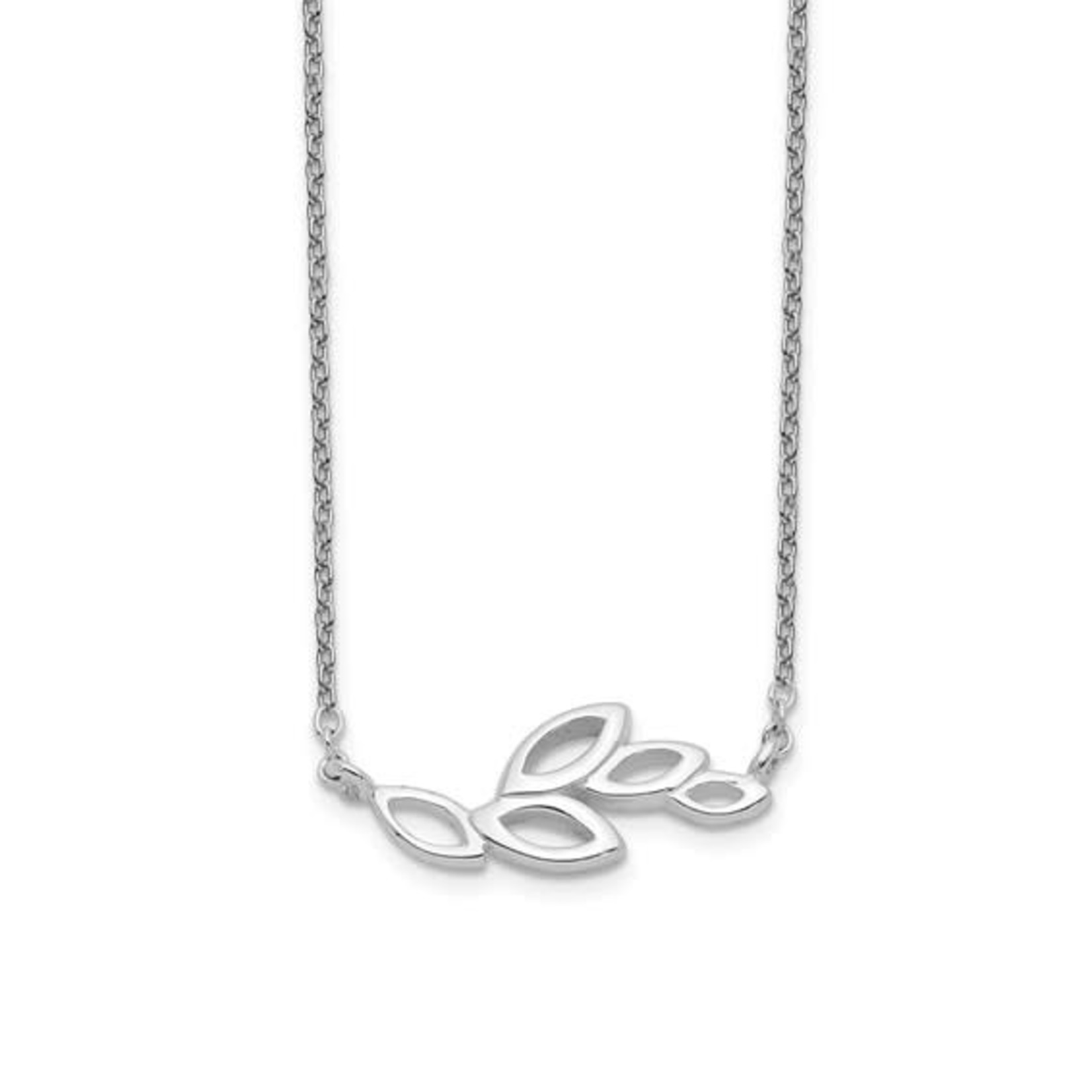 This Is Life Sterling Silver Polished Leaves Necklace