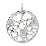This Is Life Sterling Silver Cut Out and CZ Hearts Circle Pendant
