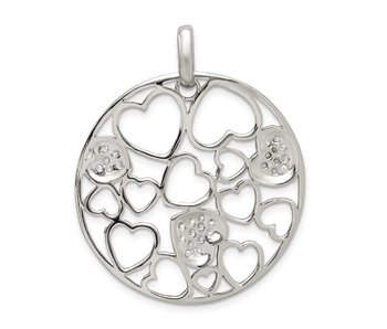 Sterling Silver Cut Out and CZ Hearts Circle Pendant