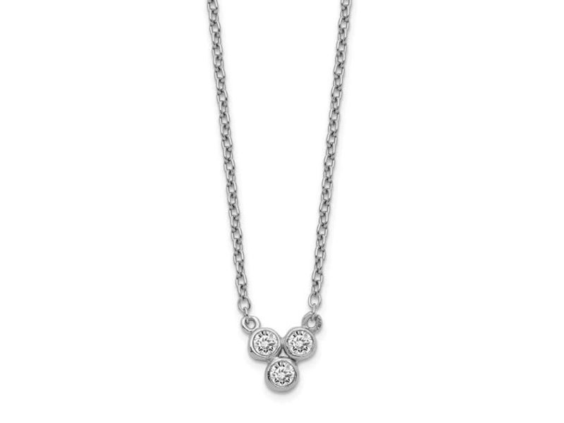 This Is Life Triple Bezel Sterling Silver Rhodium Plated Necklace
