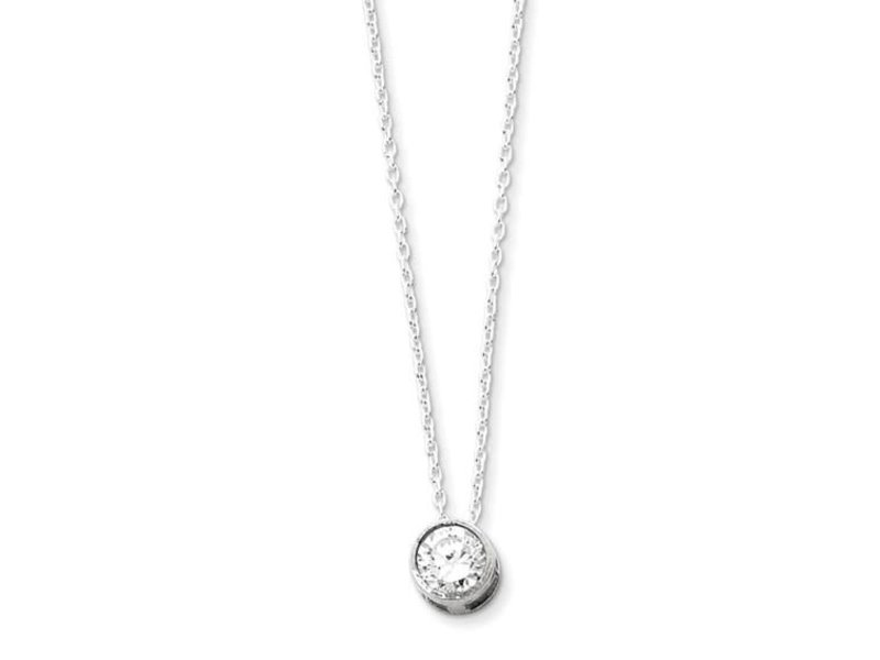 This Is Life Sterling Silver Rhodium-Plated 8mm Bezel CZ Necklace