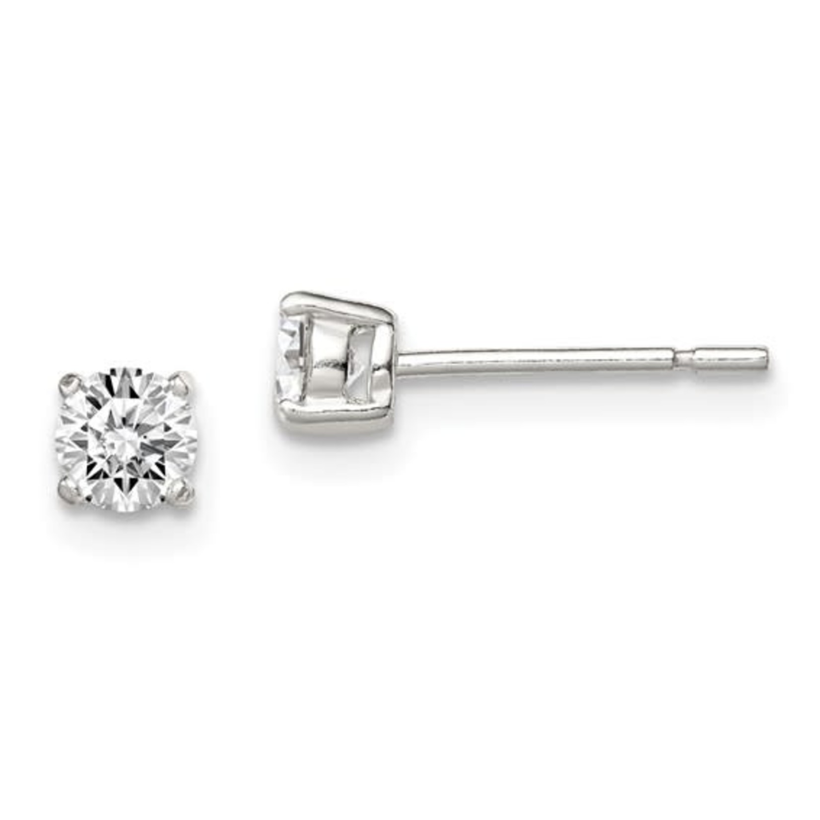 This Is Life Sterling Silver 4mm Round Basket Set CZ Stud Earrings