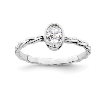 Oval CZ With Braided Band Ring - Sterling Silver