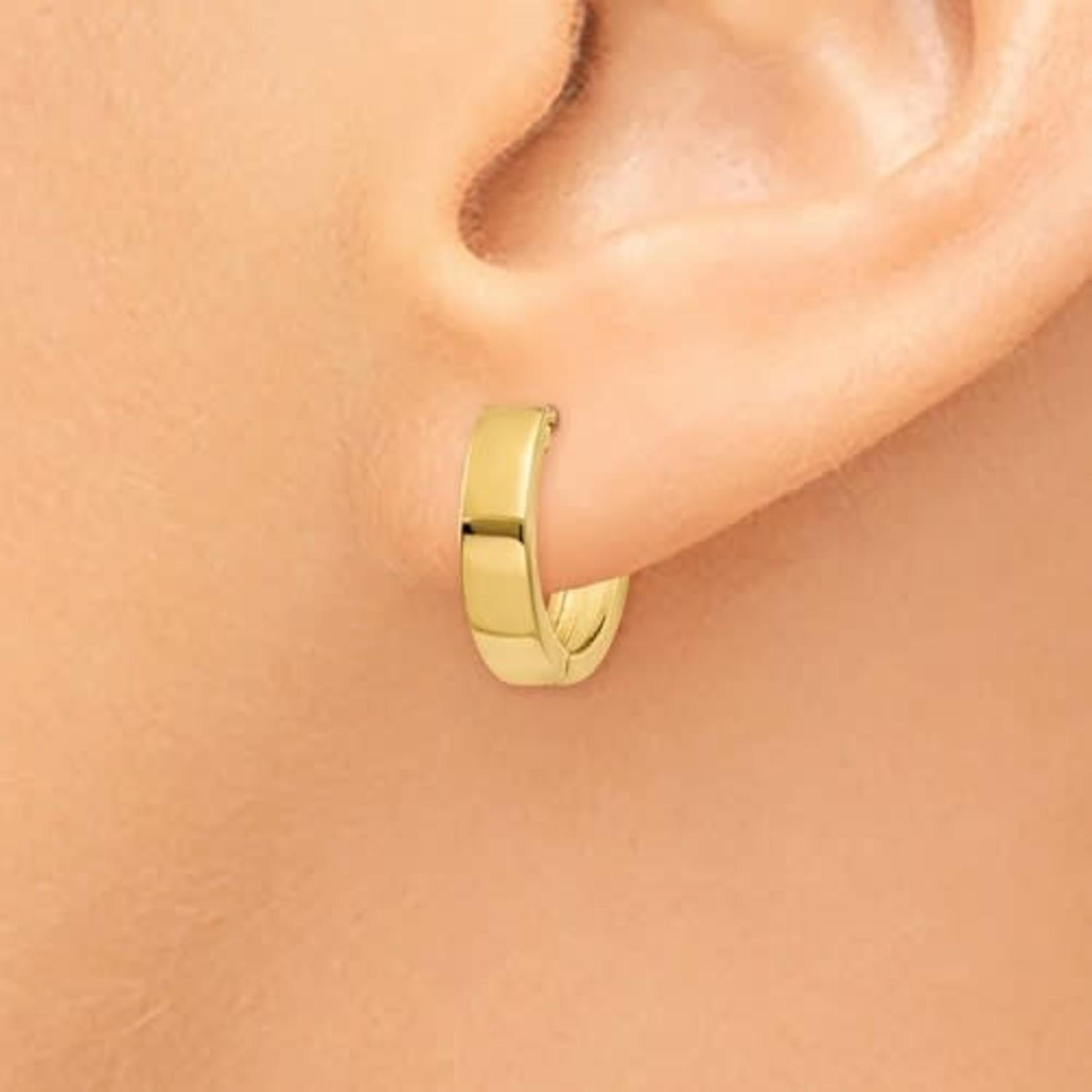 This Is Life Hinged Huggie 14kty Hoop Earrings
