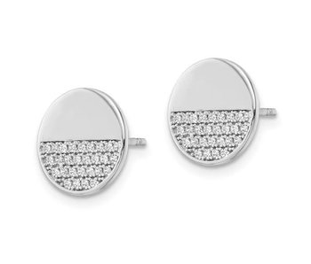 Half Glitz & Half Polished Sterling Silver Earrings