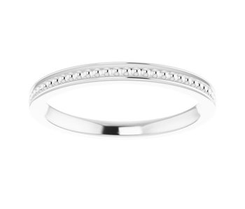 Center Beaded Stackable  Sterling Silver Ring