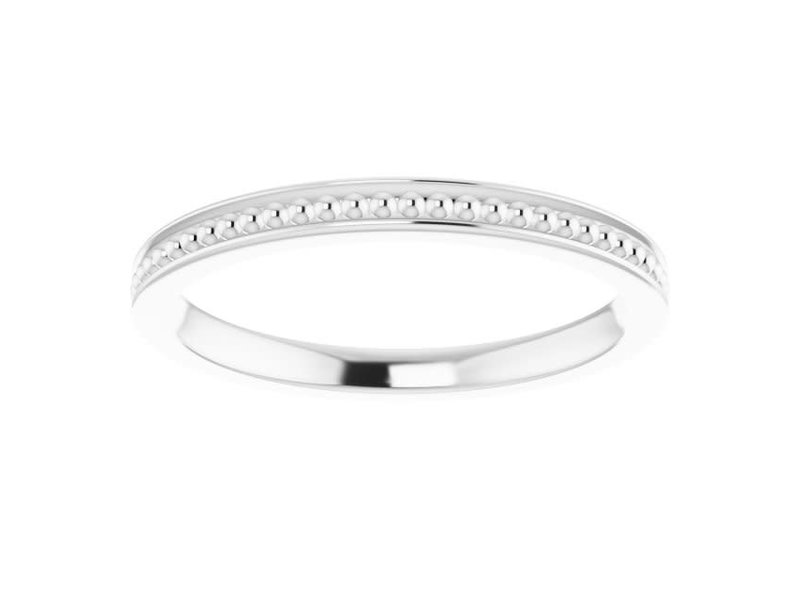 This Is Life Center Beaded Stackable  Sterling Silver Ring