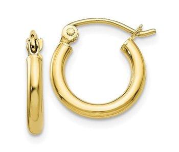 2mm 10KT Yellow Gold Hoop Earrings