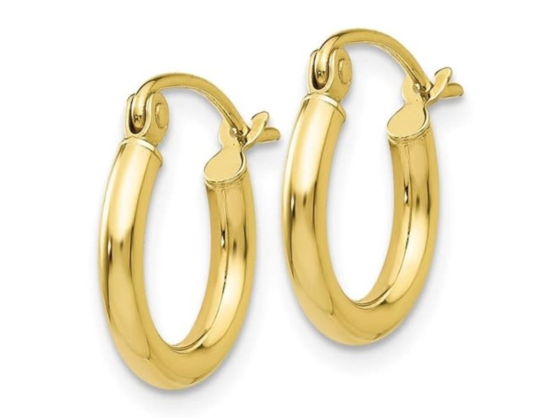 This Is Life 2mm 10KT Yellow Gold Hoop Earrings