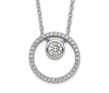 Sterling Silver RH-plated CZ Circle with 1in. Ext. Necklace