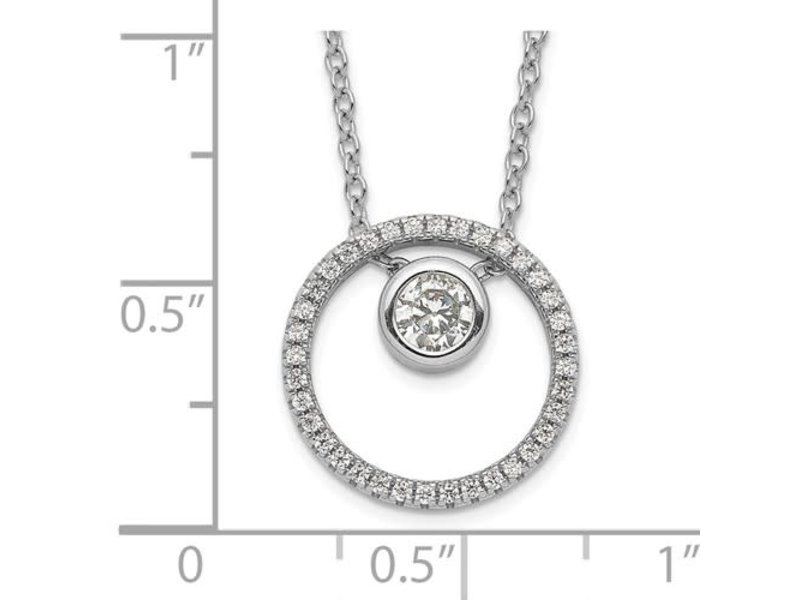 This Is Life Sterling Silver RH-plated CZ Circle with 1in. Ext. Necklace