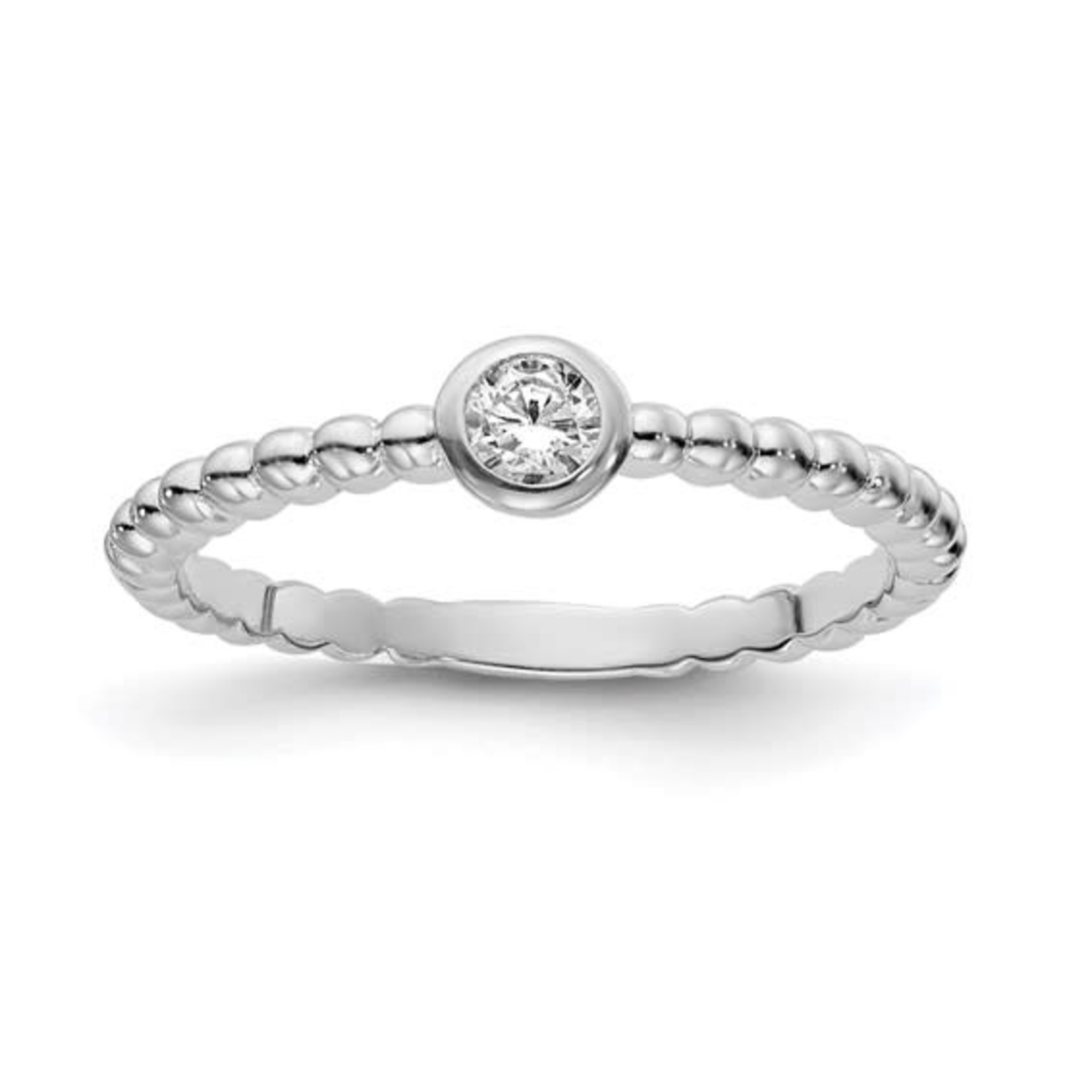This Is Life Bubble Band With CZ Stackable Band - Sterling Silver