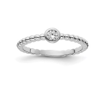 Bubble Band With CZ Stackable Band - Sterling Silver