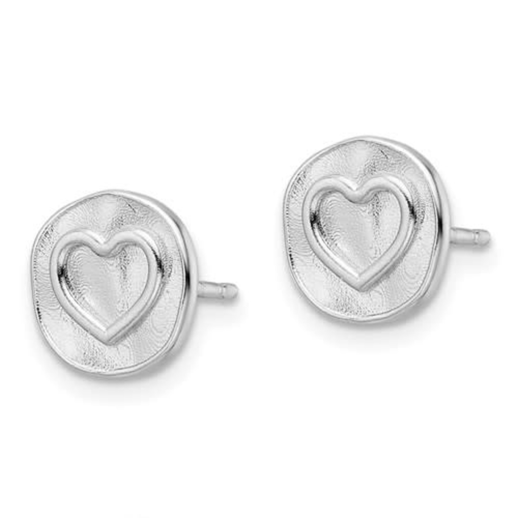 This Is Life Heart Stamp Sterling Silver Earrings