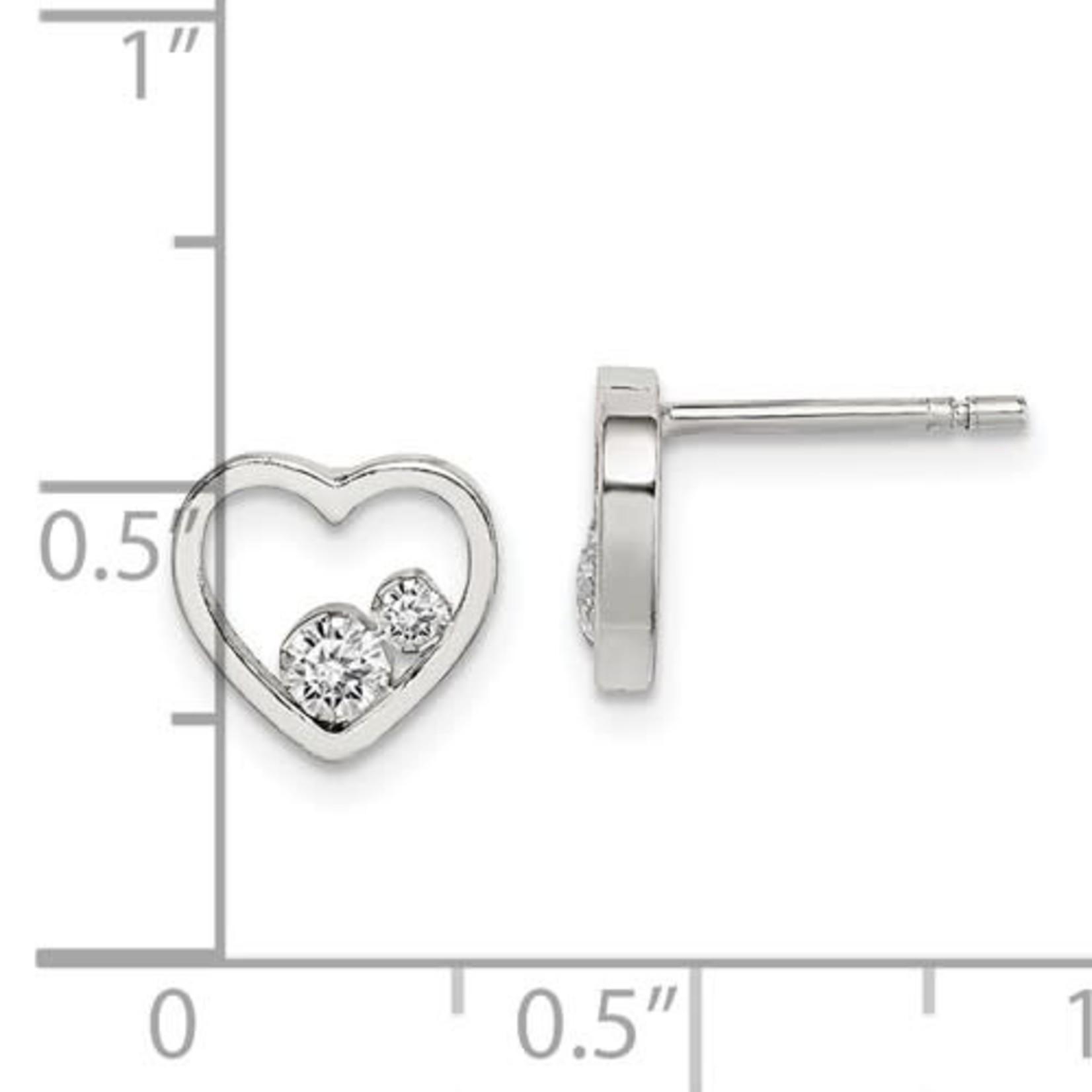 This Is Life Dangle My Heart Hoop Earrings - Sterling Silver