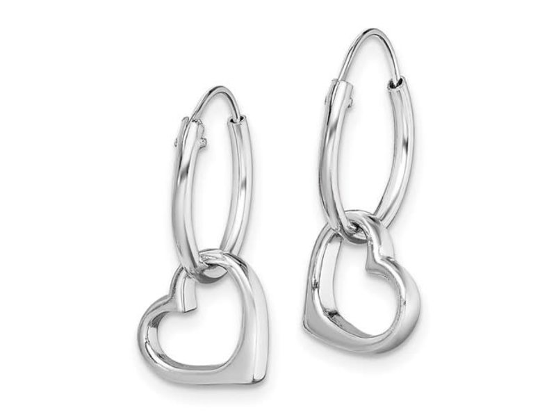 This Is Life Dangle My Heart Hoop Earrings - Sterling Silver