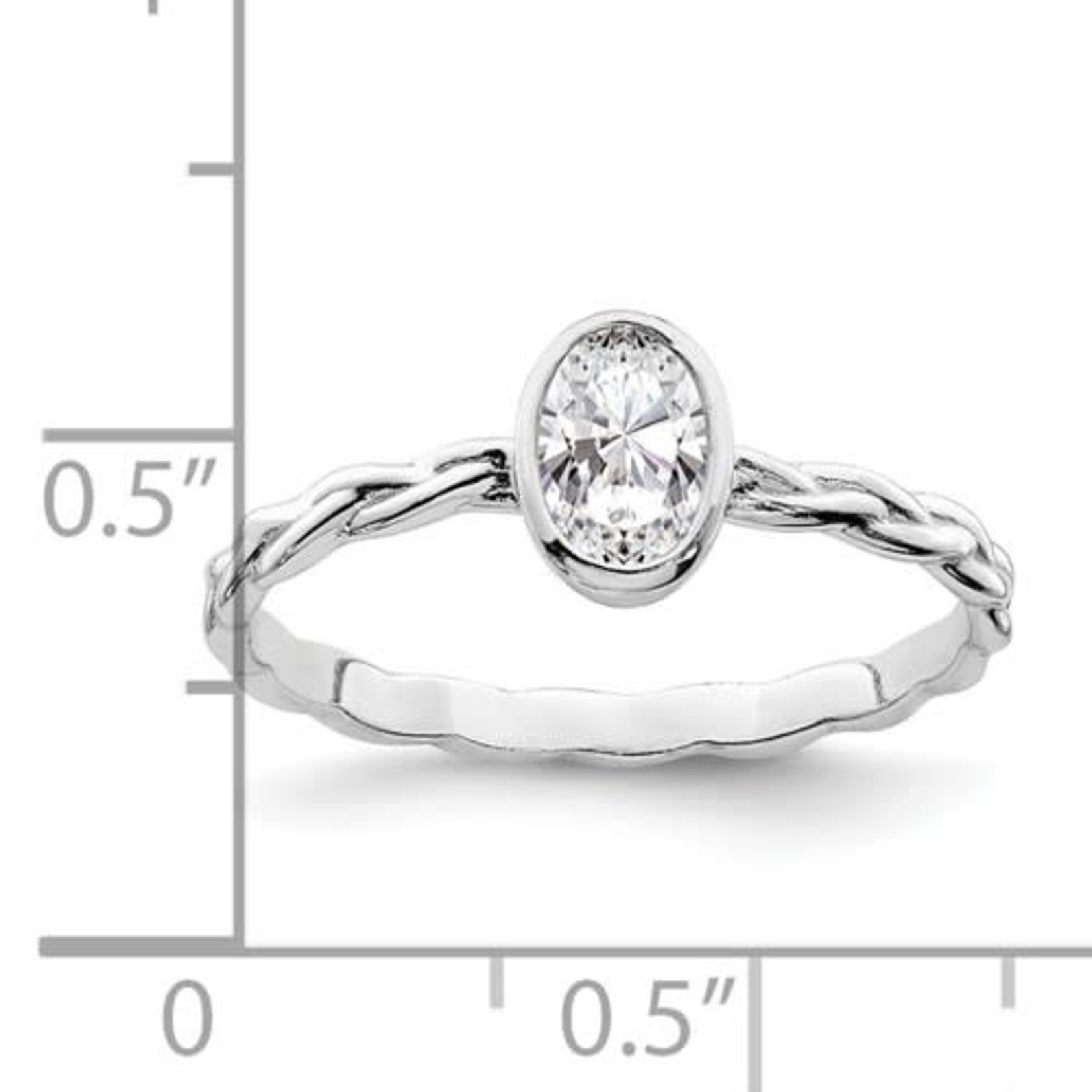 This Is Life Oval CZ With Braided Band Ring - Sterling Silver