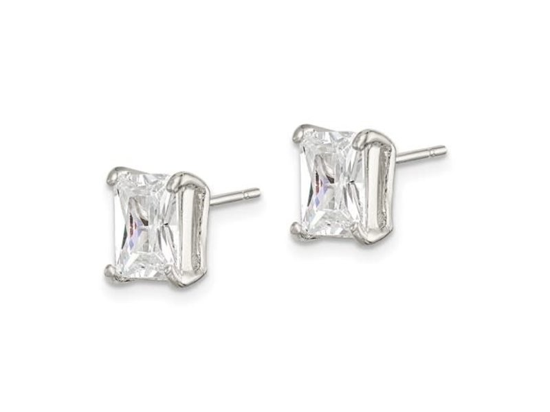 This Is Life Sterling Silver Emerald-cut 7x5 Basket Set CZ Stud Earrings