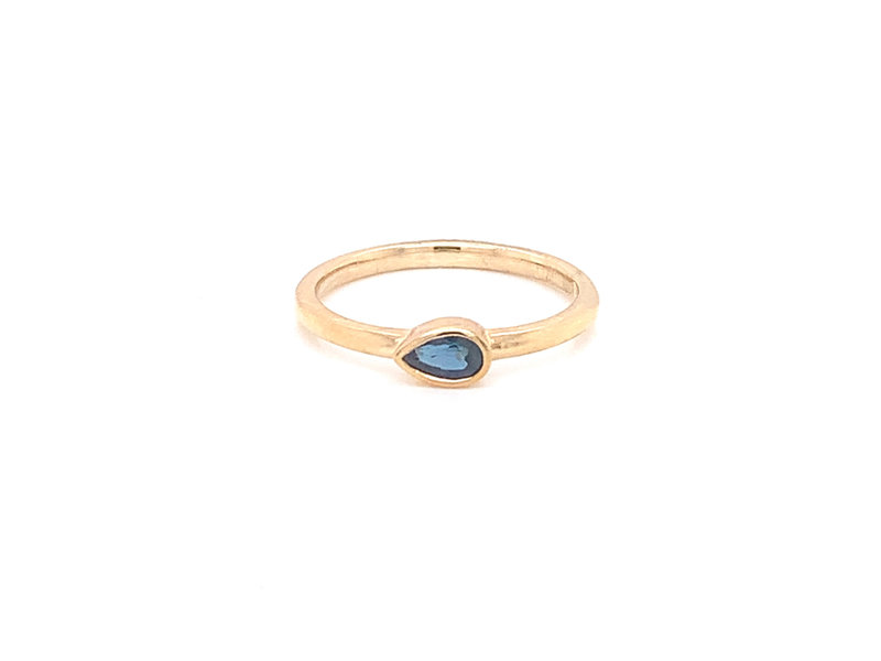 On The Edge Delicate Pear Shaped Stackable Ring - 14kty