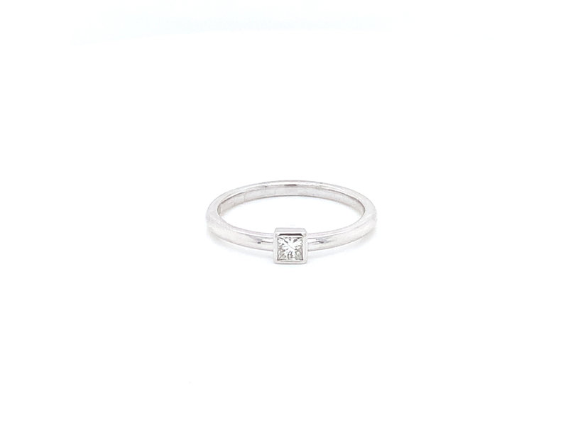 On The Edge Delicate Princess Diamond Stackable Ring - 10ktw