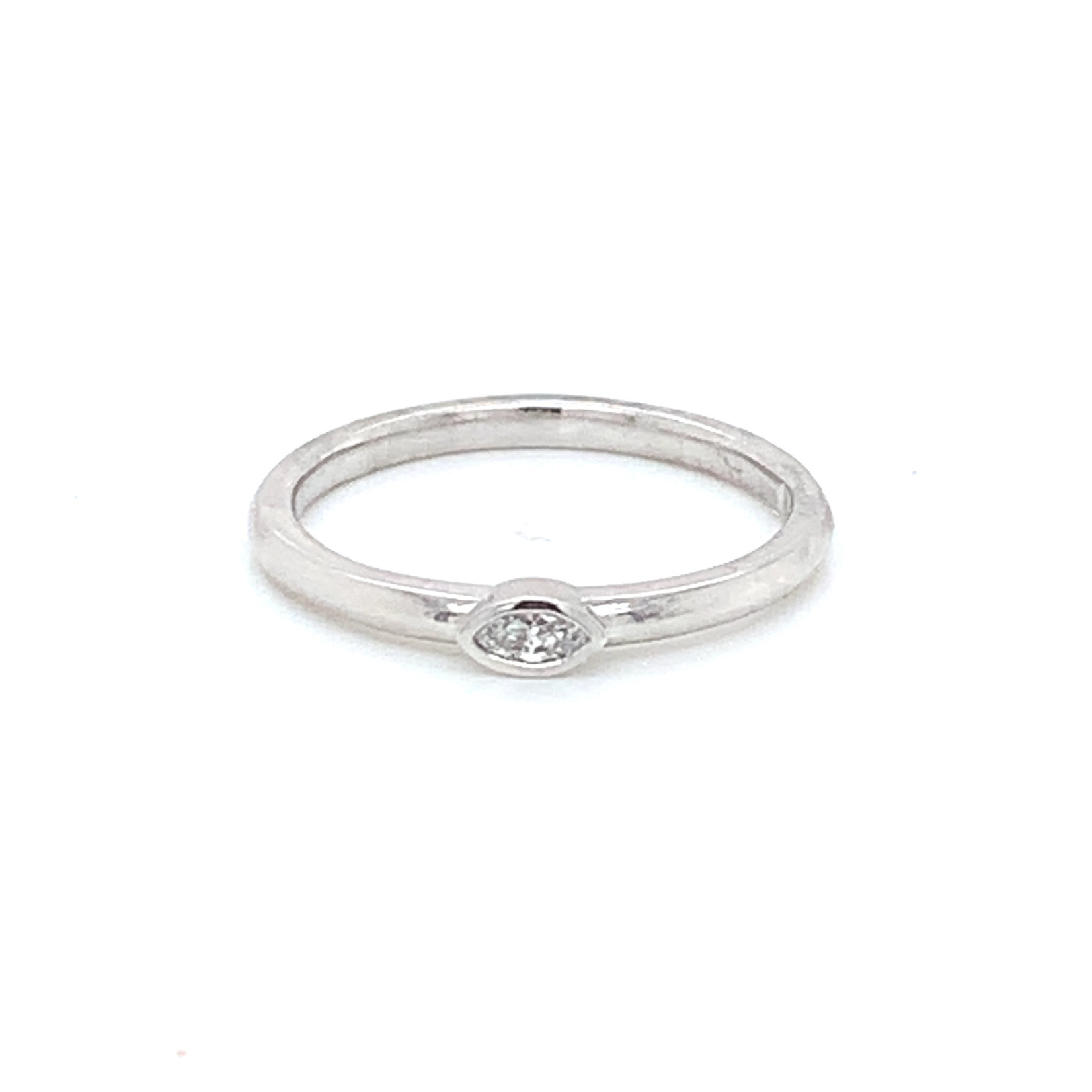 On The Edge Delicate Marquise Diamond Stackable Ring - 10ktw