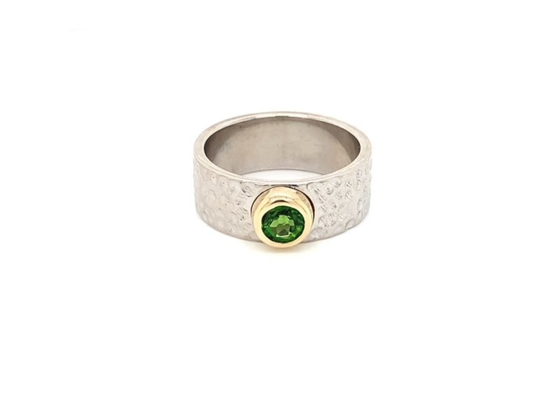 This Is Life Hammered Band with Chrome Diopside  Sterling Silver Ring